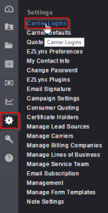carrier logins in settings