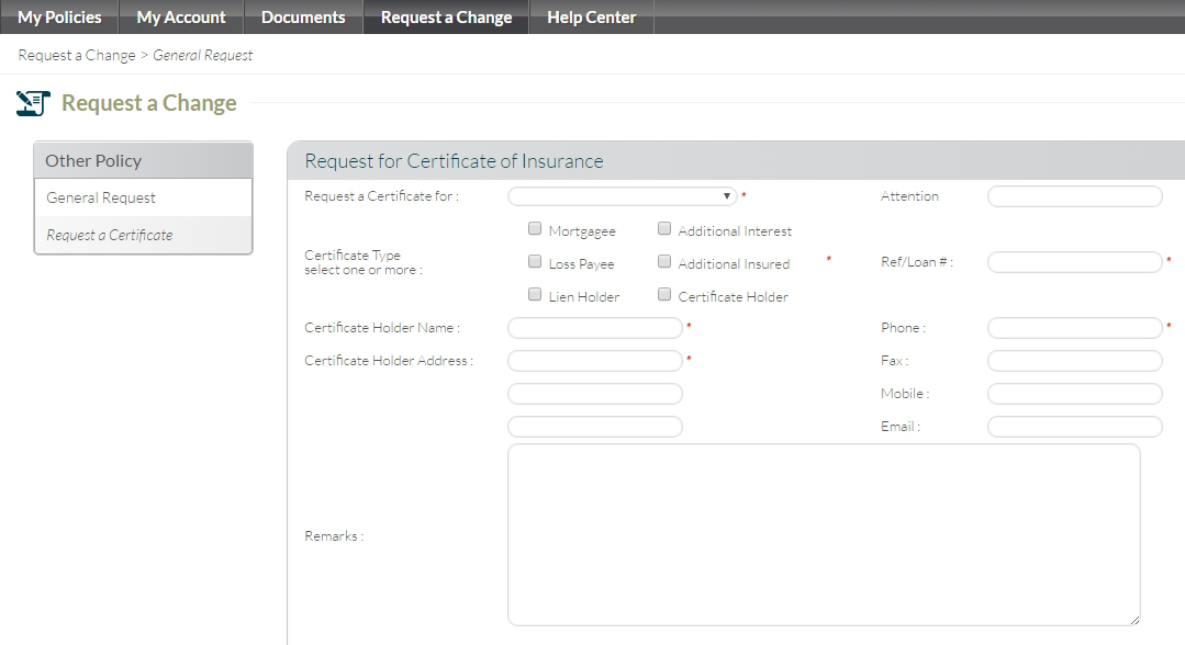 Client Center - Request a Certificate