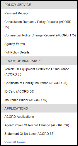 forms grouped by category policy service proof of insurance and applications